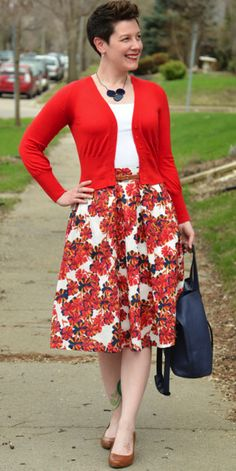 Modest Multicolored floral midi below the Knee Length Skirt | Mode-sty StitchFix: pop of color. Perfect length.