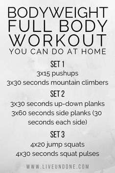 At Home Bodyweight Workout. A total body workout that you can do from the comfort of your home with absolutely no equipment. Full Body Weight Workout, Six Pack Abs Workout, Abs Workout Routines, Abs Workout For Women, Ab Workout At Home, Workout Bodyweight, At Home Workouts, Body Workouts, Circuit Workouts