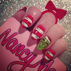 nancymcnails: Re-did one of my faves from last year ❤ #nancymcnails #nailart #nailart #christmas #christmasnails #grinch