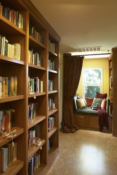 contemporary hall cozy windowsill and book wall