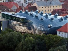 Kunsthaus Graz, or Graz Art Museum, in Graz, Austria; an odd-shaped celluloid building with 'nodes' on the roof to let in natural light; designed by Peter Cook and Colin Fournier
