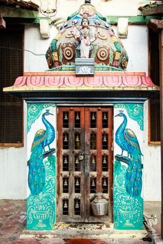 Peacock art at Maratha Palace, Tanjore, India