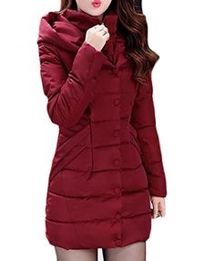 e63b33408ac ARRIVE GUIDE Women s Button Front Slim Winter Thicken Hooded Down Parka Coat  Wine Red X-