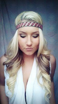 Aztec boho tribal Queen   blonde hair curls eye shadow makeup smokey eye