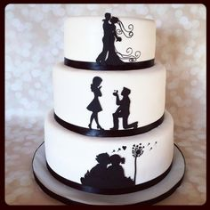 This is a silhouette love story wedding cake. Everything is cut from fondant by hand except for the dandelion that I had to hand draw on to the cake with a food marker. Fancy Wedding Cakes, Wedding Cupcakes, Fancy Cakes, Cute Cakes, Sweet Cakes, Cake Wedding, Silhouette Wedding Cake, Silhouette Cake, Engagement Cake Toppers