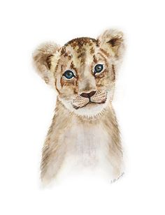 Lion Wall Art, Animal Art, Lion Cub, Lion Art, Kids Wall Art, Baby Room Decor, Lion Nursery, Gender Neutral, Safari Nursery, Portrait 13x19