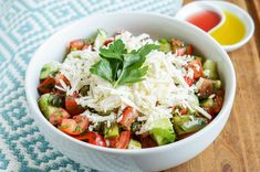 Shopska Salata is a Bulgarian salad created by tossing together chopped tomatoes, cucumbers, peppers (roasted or raw), onions (green or red), and parsley. It is topped with Sirene cheese and served… Austrian Recipes, Bulgarian Recipes, Austrian Food, Bulgarian Food, Vegetable Stew, Vegetable Salad, Shopska Salad, Salad Recipes, Healthy Recipes