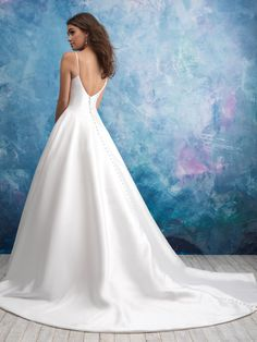 Shop the Allure 9570 Wedding Dress! This Mikado satin ball gown features spaghetti straps, a deep V-neckline with an illusion insert, and a deep V-back. Making A Wedding Dress, V Neck Wedding Dress, Bridal Wedding Dresses, Dream Wedding Dresses, Bridesmaid Dresses, Wedding Ceremony, Yacht Wedding, Wedding Veils, Bridal Style