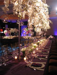 hanging candle lights on the stage idea.