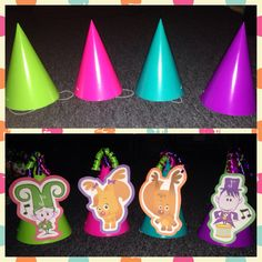 Baby First TV party hats, print outs, construction paper, plain cone party hats, ribbon. DIY
