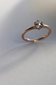 Six-Prong Solitaire Engagement Ring with conflict-free salt & pepper rose cut diamond, Engagement Ring, made in recycled rose gold — Aide-memoire Jewelry Gold Simple Engagement Ring, Black Diamond Engagement, Designer Engagement Rings, Engagement Ring Settings, Vintage Engagement Rings, Diamond Wedding Bands, Solitaire Engagement, Wedding Rings, Solitaire Rings