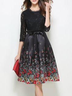 Shop Midi Dresses - Black Cotton-blend Guipure Lace 3/4 Sleeve Midi Dress online. Discover unique designers fashion at StyleWe.com.