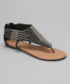 Another great find on #zulily! Black & Silver Beaded Sandal by Capelli New York #zulilyfinds