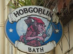 Pubs of Bath: Pub sign for Hobgoblin Pub Bathwick, Bath, England by Charles… Uk Pub, Sign O' The Times, Storefront Signs, British Pub, Hobgoblin, Pub Signs, Halloween Signs, Business Signs, Advertising Signs