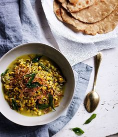 Black-eyed pea curry with crisp shallots and curry leaves recipe :: Gourmet Traveller Best Vegetarian Dishes, Vegetarian Curry, Indian Food Recipes, Gourmet Recipes, Ethnic Recipes, Free Recipes, Healthy Recipes, Pasta, Curry Leaves