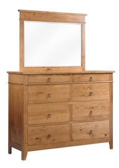 Amish Tucson High Dresser with Optional Mirror Amish made wood furniture for bedroom. Tuck away favorites in the Tucson that's built in the wood and stain you choose. Upgrade to soft close drawers and cedar drawer bottoms for added luxury. #dressers #amishfurniture