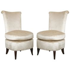 Art Deco Chauffeuse/ Ladies Budoir Chairs. | From a unique collection of antique and modern slipper chairs at http://www.1stdibs.com/furniture/seating/slipper-chairs/