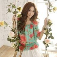Stylish Scoop neck Dolman sleeves in colorful floral design upper for women