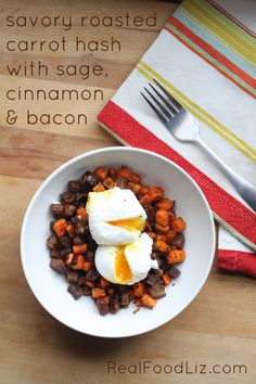 Roasted carrot hash with sage, cinnamon and bacon - simple, savory, yummy...Paleo, Primal & Real Food friendly!