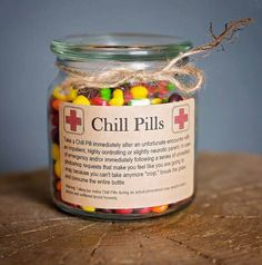 "Having a bad day? Take a chill pill! This fun Chill Pill jar (candy not included) makes a perfect gift for anyone who appreciates a little humor within frustrating situations. Want to add your business logo and relate these to your business? Message me for more information on how these can be customized!   PRODUCT SPECIFICATIONS:   ★Size: 8oz ★Jar Dimension: Height: 2-3/4"" Diameter: 4"" Base: 4"" Top: 3""  ★Finish: High End Apothecary Glass  ★Color: Clear Jar With Kraft Paper Label   ★Size…"
