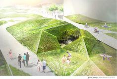 Marta Musiał on Behance parametric, render, visualisation, design, architecture, urban, landscape, Warsaw, greenery, bio, eco