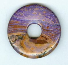 45mm Brown and Purple Agate PI Donut Pendant 802 by RockNBeads, $5.00