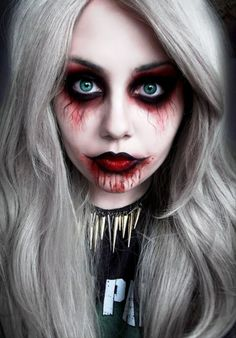 Looking for for ideas for your Halloween make-up? Browse around this site for creepy Halloween makeup looks. Creepy Doll Makeup, Creepy Halloween Makeup, Amazing Halloween Makeup, Pretty Halloween, Scary Makeup, Doll Make Up Halloween, Women Halloween, Halloween Ideas, Ghost Makeup