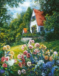 """Susan Rios - Previous pinner wrote, """"This is hanging in my living room, the title is 'Welcome Home' and it was offered as a signed, limited edition. Paintings I Love, Beautiful Paintings, Watercolor Landscape, Landscape Paintings, Storybook Cottage, Painting Inspiration, Home Art, Flower Art, Vintage Art"""