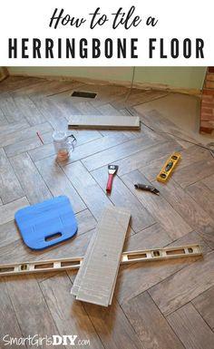 How to tile a herringbone pattern floor with wood look tiles - Smart Girls DIY