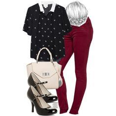 Lydia Inspired Outfit with Burgundy Pants by veterization on Polyvore featuring мода, Band of Outsiders, Koral, Chinese Laundry, Express, women's clothing, women's fashion, women, female and woman