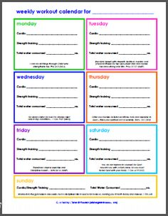 Free Weekly Workout Schedule with Daily Scriptural Encouragement - Style 2