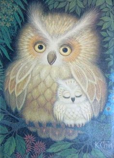 """""""Mom and Baby Owl"""" p Cute Baby Owl, Baby Owls, Owl Photos, Owl Pictures, Owl Illustration, Illustrations, Graffiti Kunst, Owl Artwork, Owl Wallpaper"""