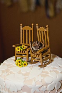 Miniature Rocking Chairs Wedding Cake Topper