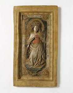 St Catherine of Alexandria      Object:    Relief      Place of origin:   Utrecht, Netherlands (made)      Date:    ca. 1480 (made)      Artist/Maker:    Unknown (production)      Materials and Techniques:    Painted terracotta in low relief, casted from a mould - V & A