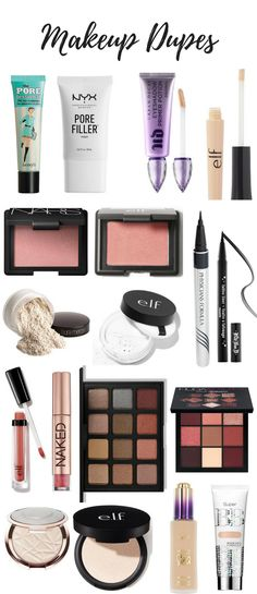Dupes for High End Makeup: Find dupes for your favorite makeup products that will save you on money but won't cost you quality. Makeup, Beauty, budget makeup, makeup dupes, dupes.
