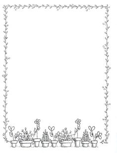 Garden party - Giovanna Scheibner - Picasa Web Albums Source by Ozeristan Page Borders Design, Border Design, Borders For Paper, Borders And Frames, Page Boarders, Idees Cate, Note Paper, Writing Paper, Book Of Shadows