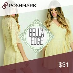 Cream lace flutter sleeve dress 📍97% POLYESTER, 3% SPANDEX ⚬Perfect for Easter, baby showers, wedding, etc.! This lovely lace dress features long flutter sleeves, full lining, A-line silhouette and a wrapped v-neckline. Zip up closure in back. Size small to medium Bella Edge Dresses