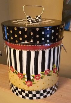 My tin lidded canister bin w/ mackenzie childs courtly bow SuperCrazyChick Whimsical Painted Furniture, Hand Painted Furniture, Funky Furniture, Paint Furniture, Painted Vases, Painted Chairs, Mackenzie Childs Furniture, Decor Crafts, Diy Crafts