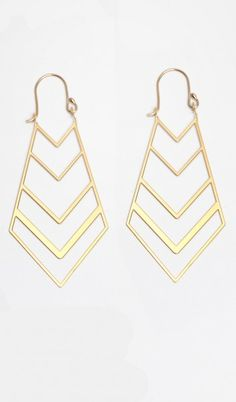 Chevron Summer time  Marquis Earrings - Gold, Who doesn't love some chevron?