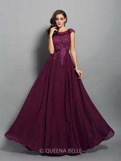 A-Line/Princess Chiffon Scoop Sleeveless Applique Floor-Length Dresses - Prom Dresses - Occasion Dresses - QueenaBelle 2017