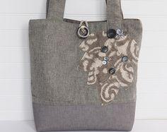 Womens borsetta a mano, grande Tote Bag, grigio Tote Bag, borsa in pelle grigia, borsa in tessuto, borsa grigio, Tote da viaggio, borsa, borsa di tessuto di grigio