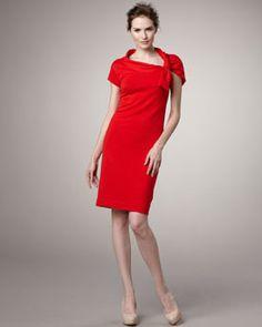 Magaschoni  Tie-Shoulder Knit Dress, blood orange