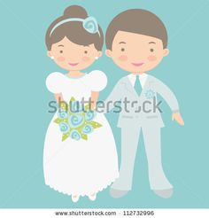 Cute bride and groom