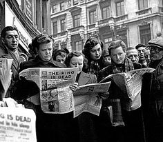 Londoners read of the death of HM King George VI at Sandringham House, Norfolk, on 6th February 1952
