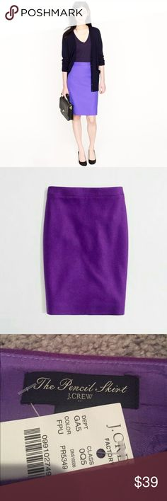 🎉J Crew double serge wool pencil skirt NWT. Reposhing this beautiful winter skirt because J Crew runs bigger in size for me. Lovely purple color that brings color to the winter. J. Crew Factory Skirts Pencil