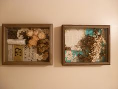 Bridesmaids' bouquets dried and put in shadow boxes. Background wedding invitation