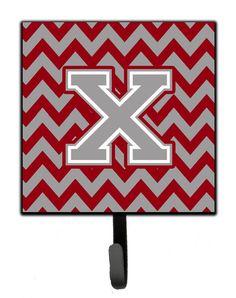 Letter X Chevron Crimson and Grey Leash or Key Holder CJ1043-XSH4
