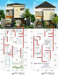 Desain Rumah 7 X 15 Meter 2 Lantai - DesainRumahku. Modern House Floor Plans, Pool House Plans, Duplex House Plans, House Layout Plans, Luxury House Plans, House Layouts, Three Bedroom House Plan, Family House Plans, Small House Plans