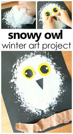 Snowy Owl Winter Art Project for Kids . Arctic Animal Theme Activity #artforkids #kidsactivities #prek