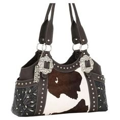 Every cowgirl needs accessories with cow print - American West Prairie Rose Western Purse #pin2win
